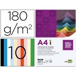 Cartulina marca Liderpapel 10 colores surtidos a4 180 g/m2