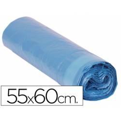 Bolsa basura azul 55x60cm galga 120 rollo de 20 unidades con cierre cierre facil