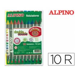 Rotulador Duo Alpino punta doble media y gruesa lavable caja de 10 rotuladores
