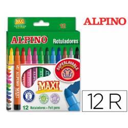 Rotulador Alpino Maxi punta gruesa lavable caja de 12 rotuladores