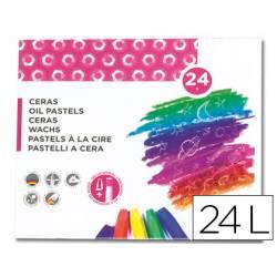 Lapices cera blanda Liderpapel caja de 24 unidades + sacapuntas + portaceras