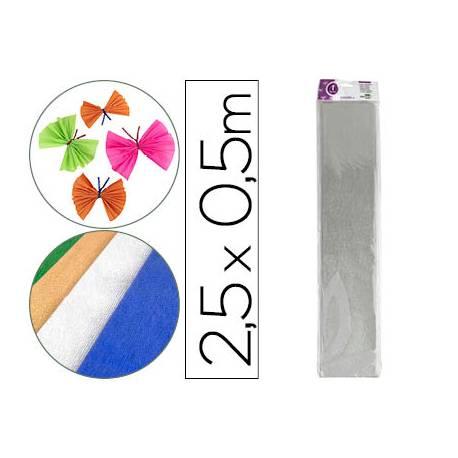 Papel crespon Liderpapel plata metalizado