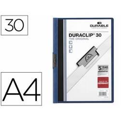Carpeta dossier con pinza central duraclip Durable 30 hojas Din A4 azul oscuro