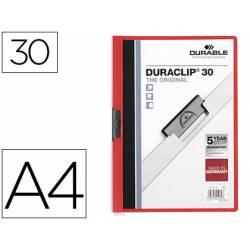 Carpeta dossier con pinza central duraclip Durable 30 hojas Din A4 rojo