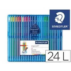 Lapices de color Staedtler Ergosoft triangulares estuche de plastico 24 unidades