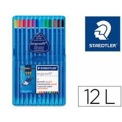 Lapices de colores Staedler acuarelables Ergosoft triangular mina fina 3 mm caja de 12 lapices