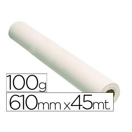 Papel estucado reprografia Plotter 100 g/m2, 610 mm x 45 m.