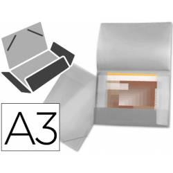 Carpeta de gomas lomo flexible con solapas Liderpapel Din A3 transparente