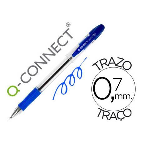 Boligrafo transparente Q-Connect azul 0,7 mm con capuchón