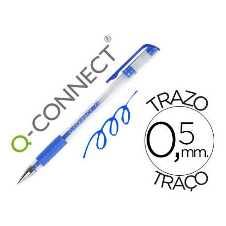 Boligrafo transparente Q-Connect gel azul 0,3 mm