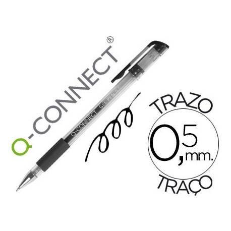 Boligrafo transparente Q-Connect negro gel 0,3 mm