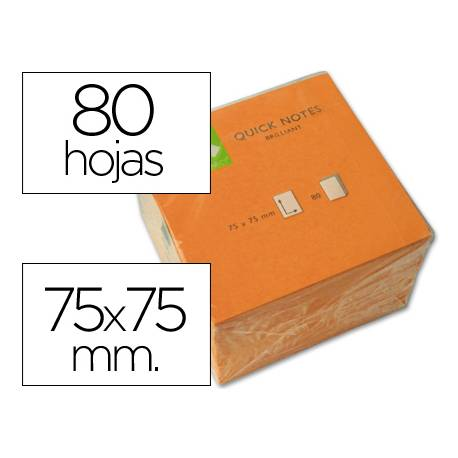 Bloc quita y pon Q-Connect 75x75mm Naranja Neon
