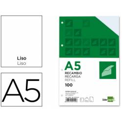 Recambio Liderpapel din A5 6 taladros 100 gr liso