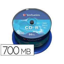 CD-R VERBATIM CAPACIDAD 700MB 52X 80 MIN TARRINA DE 50 UNIDADES