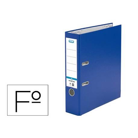 Archivador de palanca Elba Carton forrado PVC Folio Lomo de 80 mm Azul
