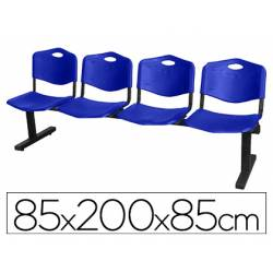 Bancada de espera PYC Pozohondo cuatro asientos de PVC azul