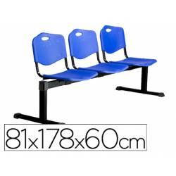 Bancada de espera PYC Pozohondo tres asientos de PVC azul
