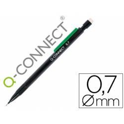 Portaminas Q-Connect trazo 0.7 mm negro con clip verde y 3 minas