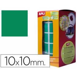 Gomets Apli cuadrados verdes 10x10mm