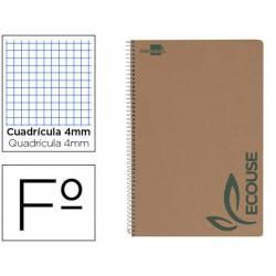 Bloc Liderpapel espiral folio Cuadriculado 4mm 80 hojas papel reciclado
