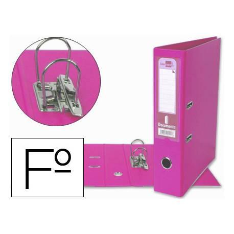 Archivador de palanca Liderpapel folio rosa lomo 75mm