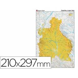 Mapa mudo físico Castilla León Din A4