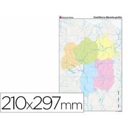 Mapa mudo político Castilla La Mancha Din A4