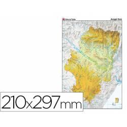 Mapa mudo físico Aragón Din A4