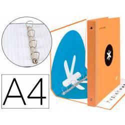 Carpeta 4 anillas 40mm Liderpapel Antartik A4 naranja carton forrado