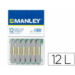 Lapices cera blanda Manley caja 12 unidades color gris