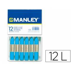 Lapices cera blanda Manley caja 12 unidades color azul cobalto