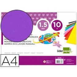 Goma eva liderpapel violeta paquete de 10 hojas