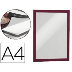 Porta anuncios magnetico adhesivo A4 rojo
