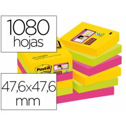 Post-it Bloc de notas adhesivas super sticky 47,6 x 47,6 mm 90 hojas pack 12 blocs colores