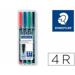 Rotulador Retroproyección Permanente Staedtler Lumocolor 318 4 Colores Surtidos Punta Superfina Redonda