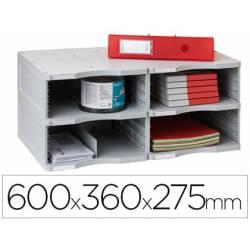 Archivador modular Archivo 2000 duo jumbo 4 casillas gris 600x360x275 mm