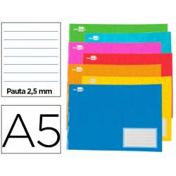 Libreta escolar Liderpapel A5 rayado horizontal 32 hojas colores surtidos
