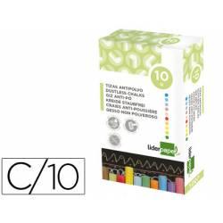 Tizas colores antipolvo Liderpapel caja 10 unidades