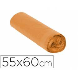 Bolsa basura naranja 55x60cm galga 120 rollo de 15 unidades con cierre cierre facil