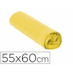 Bolsa basura amarilla 55x60cm galga 120 rollo de 15 unidades con cierre cierre facil