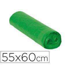 Bolsa basura verde 55x60cm galga 120 rollo de 15 unidades con cierre cierre facil