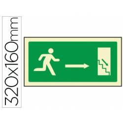 Señal Syssa salida emergencia derecha escaleras