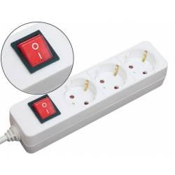 Regleta 3 tomas Mediarange con interruptor cable 1,4 m