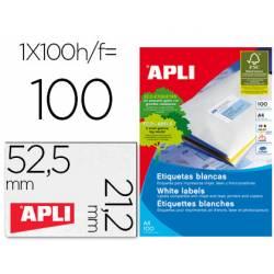 Etiqueta adhesiva Apli 52,5 x 21,2 mm para fotocopiadora laser ink-jet caja con 100 hojas din a4