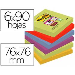 Pack 6 blocs Post-it ® 76 x 76 mm encelofanados