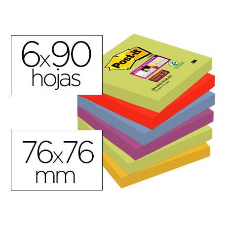 Pack 6 blocs Post-it ® 76 x 76 mm encelofanados