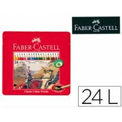 Lapices de colores Faber Castell hexagonales caja de metal 24 unidades