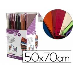 Papel celofan liderpapel 50x70 expositor 56 bolsas de 5 hojas 8 colores surtidos