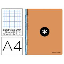 Bloc Antartik Folio Cuadrícula tapa Dura 100g/m2 color Naranja Flúor con margen