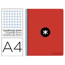 Bloc Antartik Folio Cuadrícula tapa Dura 80 hojas 100g/m2 color Rojo con margen